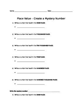Place Value - Create a Mystery Number