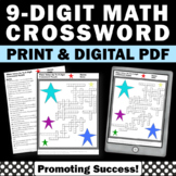 Hundred Millions 9 Digit Place Value Homework Math Crossword Puzzle