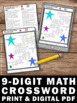 Place Value Crossword Puzzle Worksheet Up to 9 Digits