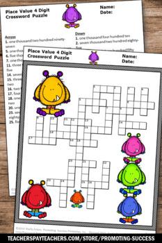 4 digit place value worksheet 2nd grade math crossword puzzle early finishers. Black Bedroom Furniture Sets. Home Design Ideas