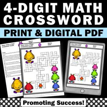 Place Value 4-Digit Numbers Crossword Puzzle Worksheet No
