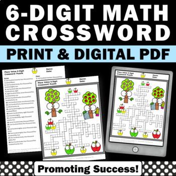 6 digit place value worksheets 4th grade math homework crossword puzzle. Black Bedroom Furniture Sets. Home Design Ideas