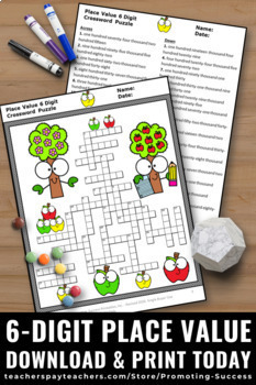 6 Digit Place Value Worksheets, 4th Grade Math Crossword Puzzle