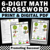 6 Digit Place Value Practice, Math Crossword Puzzle Hundred Thousands