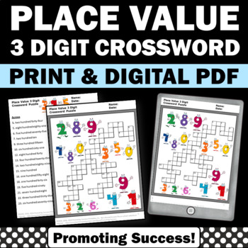 3 Digit Place Value Worksheets Crossword Puzzle 2nd Grade Math Homework Review
