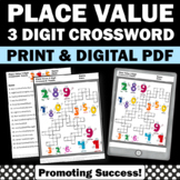 3 Digit Place Value Crossword Puzzle, Math Review Beginning of the Year