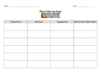 Place Value Cup Game Lesson Plans, Worksheet and Assessment * Math