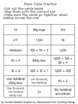 Place Value Cut and Paste