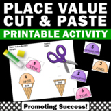 Place Value Cut and Paste Worksheets 1st 2nd Grade Math Review Hundreds Tens One