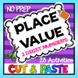 Tens and Ones Place Value Worksheets - 2 Digit Numbers Cut and Paste