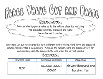 Place Value Cut and Paste up to Millions - Word, Expanded and Number Forms