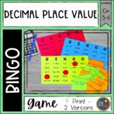 Place Value Decimals BINGO Math Game