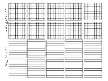 Place Value Decimal Grids: Tens, Ones, Tenths Hundredths 5