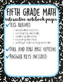 Place Value & Decimals: 5th Grade Math Interactive Notebook Pages