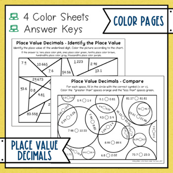 Place Value Decimals Color with Math