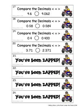 Place Value Decimals Don't Get ZAPPED Math Game Bundle