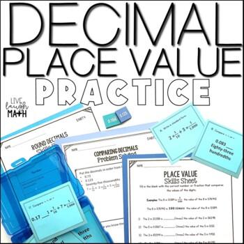 Decimal Place Value Printables, Problem Solving, & Task Cards