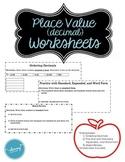 Place Value Decimals (conceptual understanding) – Practice Supplements