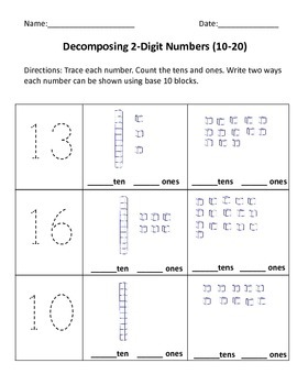 Place Value: Decomposing Numbers 10-20