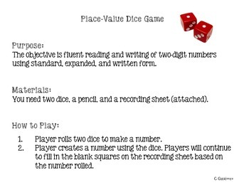 Place Value Dice Game