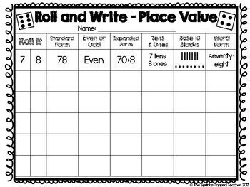 Roll and Write Place Value Dice Game
