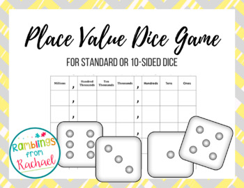 Place Value Dice Game Scoresheets for Standard Dice