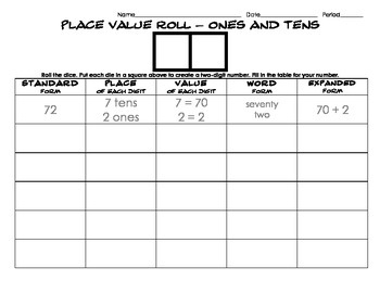 Place Value Dice Game - Ones and Tens
