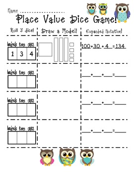 Place Value Dice Game Recording Sheet