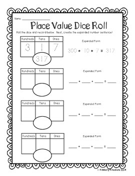 Place Value Dice Roll!  Differentiated Place Value Activity