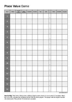 Place Value Dice Roll Game - Game Sheet