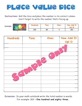 Place Value Dice Worksheet