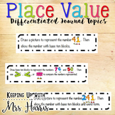 Place Value Differentiated Math Journal Topics