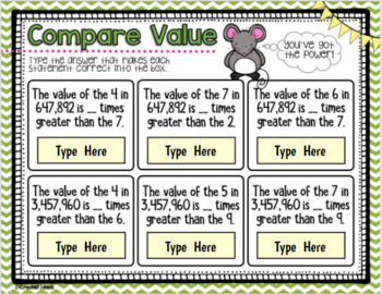 Place Value Digital Interactive for Google Drive and Google Classroom 4.NBT.A.3