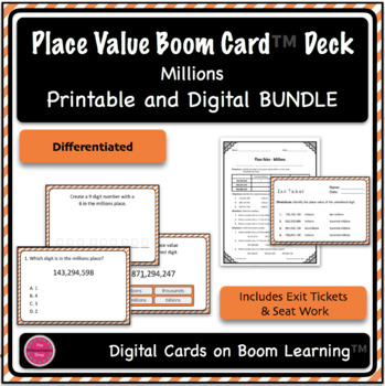 Place Value Digital and Printable Task Cards - Millions {Differentiated}