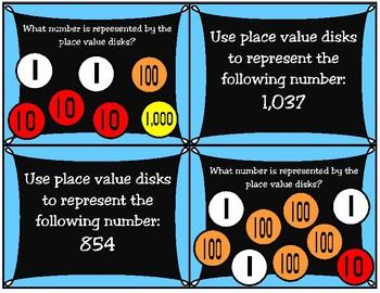 Place Value Disks (Non-Proportional Models) Activity Cards (TEKS 2.2A 3.2A)