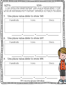 Place Value Disks:Representing a 3 digit number FREEBIE!