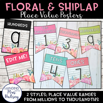 Place Value Display (Floral and Shiplap)