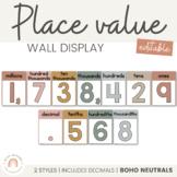 Place Value Display | NEUTRAL BOHO Color Palette | Neutral Classroom Decor
