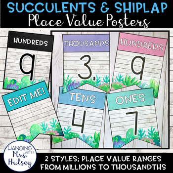 Place Value Display (Succulent and Shiplap)