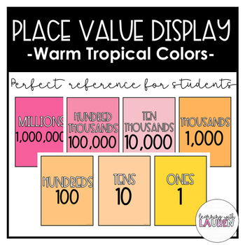 Place Value Display - Warm Tropical Colors
