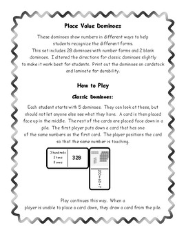 Place Value Dominoes Math Center Game
