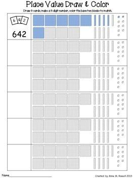 Place Value Activity - Draw & Color Base Ten Blocks