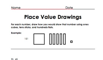 Place Value Drawing With Base Ten Blocks