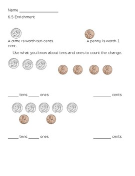 Place Value Enrichment - Tens and Ones Using Coins