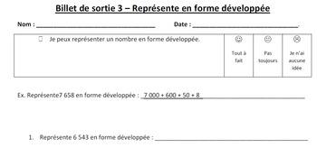 Valeur de Position - Billet de sortie - Expanded Form