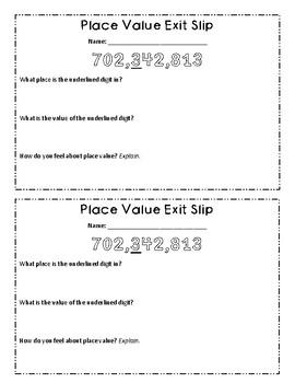 Place Value Exit Slip