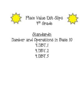 Place Value Exit Slips