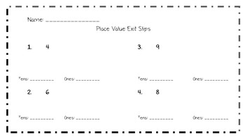 Place Value Exit Slips
