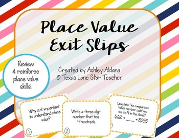Place Value Exit Slips FREEBIE