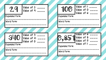 Place Value Exit Slips/Task Cards